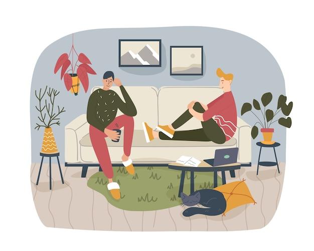 Due amici, studenti o fratelli seduti sul comodo divano di casa e che parlano tra loro, condividendo pensieri e idee in un'atmosfera piacevole e accogliente. illustrazione piatta di cartone colorato.