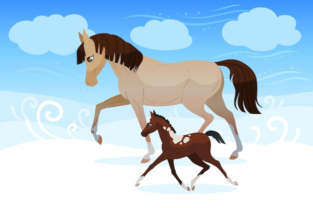 Due cavalli gelidi, uno grande e uno piccolo, che guardano in lontananza in una fredda giornata invernale nebbiosa.
