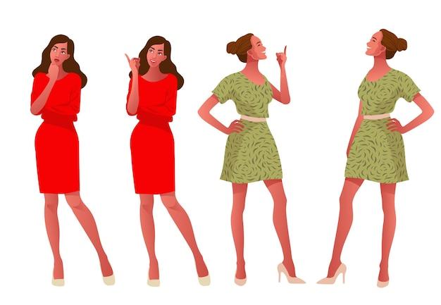 Due ragazze che pensano e felici, una donna curiosa che interroga, vestito di moda, illustrazione piatta