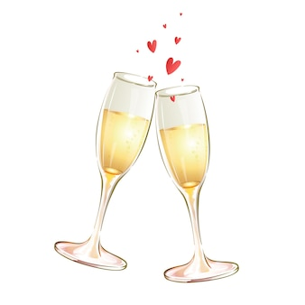 Due calici in vetro con vino bianco e cuori. brindisi festivo.