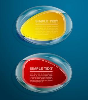Due forme di vetro per il testo. bandiera. forme di affari. illustrazione vettoriale
