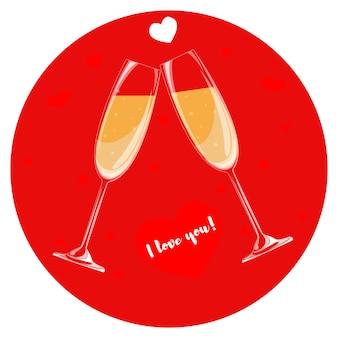 Due bicchieri di champagne su fondo rosso. cuore con le parole ti amo.