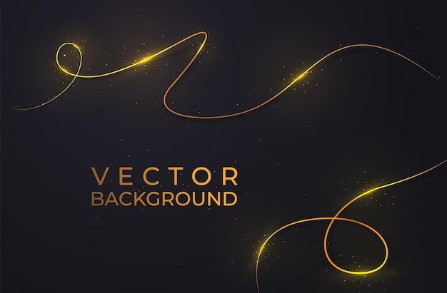 Due linee dorate con effetti di luce. isolato su sfondo nero trasparente. illustrazione vettoriale, eps 10.