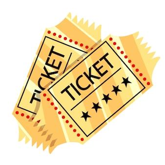 Due biglietti per il cinema retrò d'oro. concetto di cinema. illustrazione del cinema. illustrazione su sfondo bianco.
