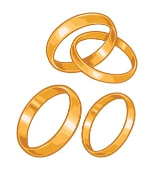 Due fedi nuziali dorate colore piatto vettoriale illustrazione per poster etichetta web isolato su bianco
