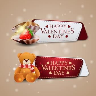 Due banner di auguri per san valentino con conchiglia di perle e orsacchiotto
