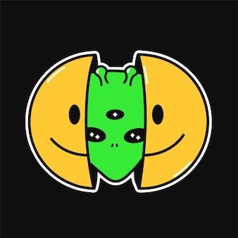 Due metà del viso sorridente con una testa aliena all'interno. illustrazione del personaggio dei cartoni animati di doodle disegnato a mano di vettore. isolato su sfondo bianco. faccina sorridente, testa aliena, stampa ufo per t-shirt, poster, concetto di carta