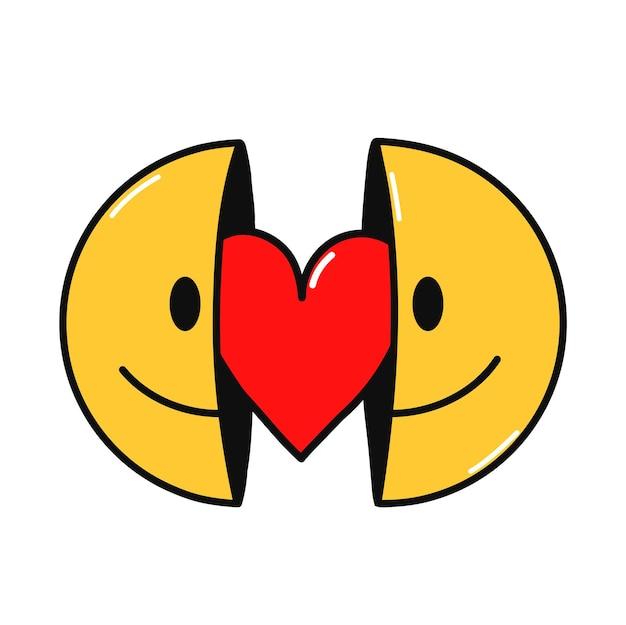 Due metà del viso sorridente con il cuore dentro. illustrazione del personaggio dei cartoni animati di doodle disegnato a mano di vettore. isolato su sfondo bianco. faccina sorridente, stampa del segno del cuore per t-shirt, poster, concetto di carta