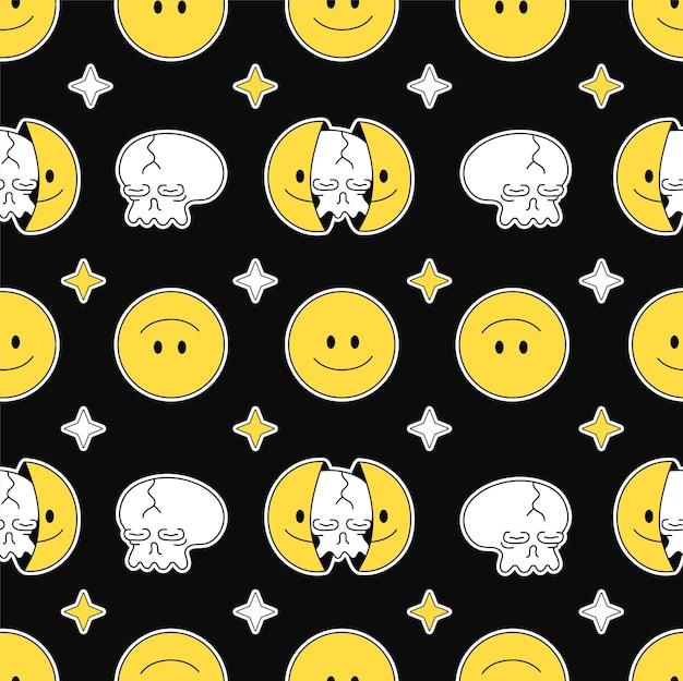 Due metà del viso sorridente con teschio all'interno del modello senza cuciture. illustrazione del personaggio dei cartoni animati di doodle disegnato a mano di vettore. faccia sorridente, teschio in testa stampa per t-shirt, concetto di modello senza cuciture poster