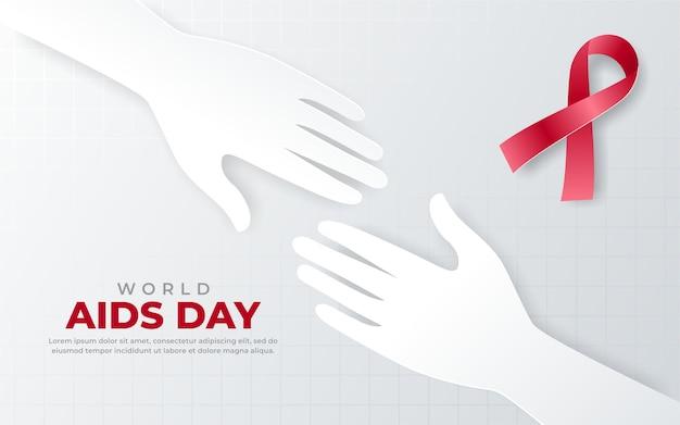 Due mani sullo sfondo del giorno dell'aids
