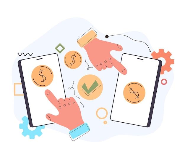 Due braccia di mani che spingono il pulsante di trasferimento di transazione di denaro