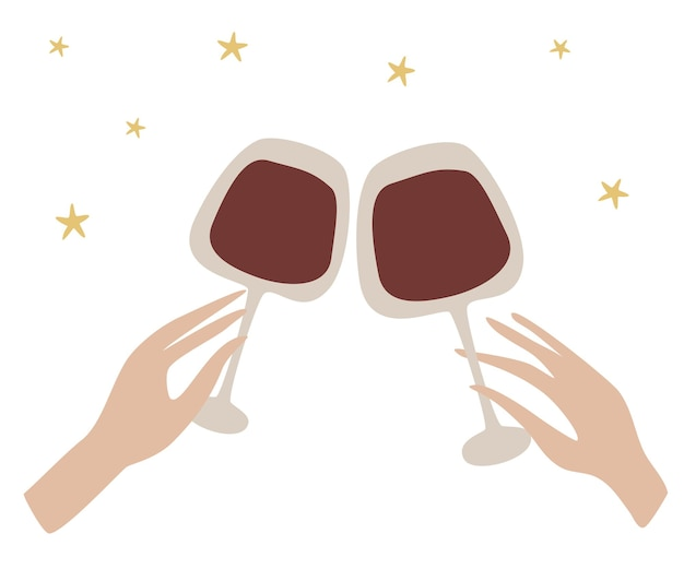 Due mani che tintinnano la bella mano femminile tiene un bicchiere di vino celebrazione con bicchieri tintinnanti