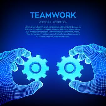 Due mani collegano gli ingranaggi. simbolo di associazione e connessione. lavoro di squadra, concetto di cooperazione.