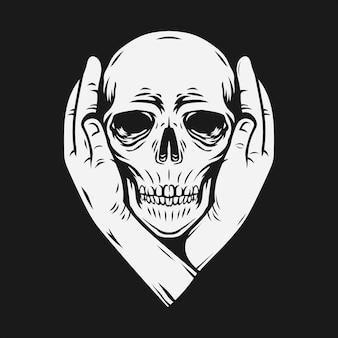 Due mani coprono le orecchie del cranio. maglietta e disegno del tatuaggio. illustrazione vettoriale
