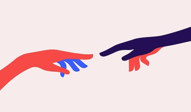 Due mani. la creazione di adamo. concetto di segno creazione di adamo.