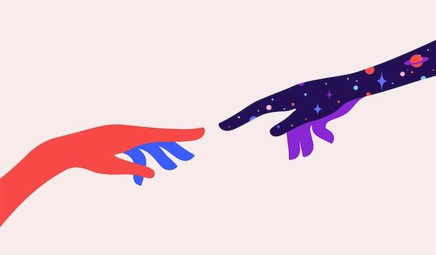 Due mani. la creazione di adamo. segno di concetto di design creazione di adamo. mani della siluetta dell'uomo e del dio, priorità bassa di sogno di notte stellata dell'universo. stile colorato di arte contemporanea.