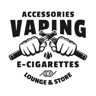 Due mani tengono le sigarette elettroniche per svapare l'emblema, il distintivo, l'etichetta o il logo monocromatici vettoriali isolati su sfondo bianco