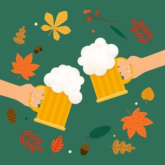 Due mani che tengono il bicchiere di birra. modello del manifesto o dell'aletta di filatoio di festival di autunno della birra. illustrazione piatta.