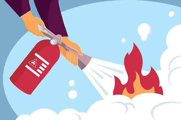 Due mani che tengono l'estintore e spengono il fuoco. illustrazione vettoriale piatto. vigile del fuoco che maneggia la fiamma, situazione di emergenza. aiuto, sicurezza, concetto di prevenzione degli incendi per la progettazione di banner o landing page