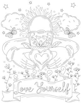Due mani che tengono l'immagine del cuore con la corona, il sole splende sopra le nuvole, farfalle, fiori, disegno a tratteggio
