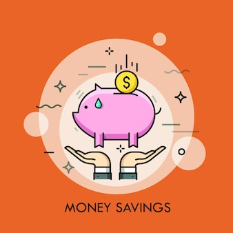 Due mani che tengono banca piggy e moneta da un dollaro. risparmio di denaro, deposito di finanze personali, investimento e concetto di accumulazione di capitale. Vettore Premium