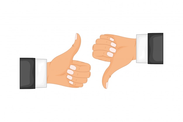 Due mani che mostrano il pollice in su e il pollice in giù segni. feedback positivo e negativo, gesti positivi e negativi, simpatia e antipatia. illustrazione piana di concetto di stile isolata su fondo bianco.