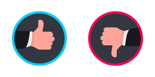 Due mani pollici su e giù. come icone antipatia per social network. icona della mano su sfondo bianco