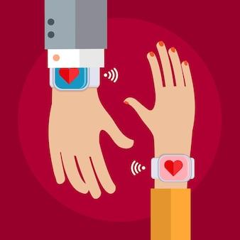 Due mani con un orologio da polso che mostra un cuore. concetto di collegamento di persone. design piatto