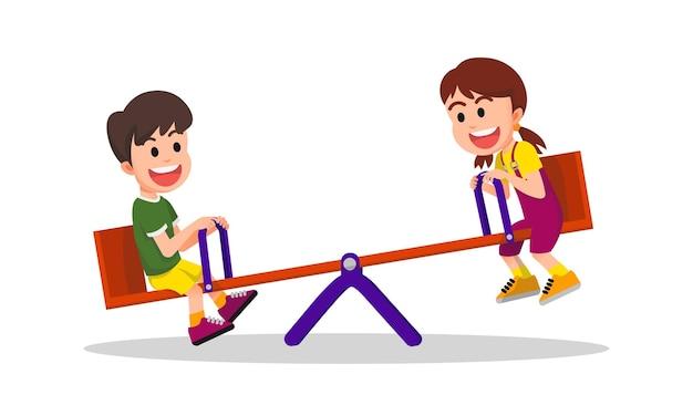 Due bambini felici che giocano con l'altalena