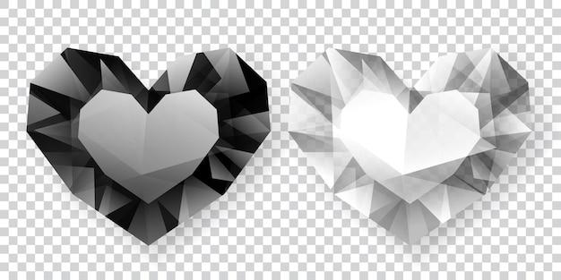 Due cuori nei colori bianco e nero fatti di cristalli con ombra su sfondo trasparente