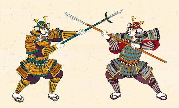 Due samurai giapponesi in amour che combattono con la spada
