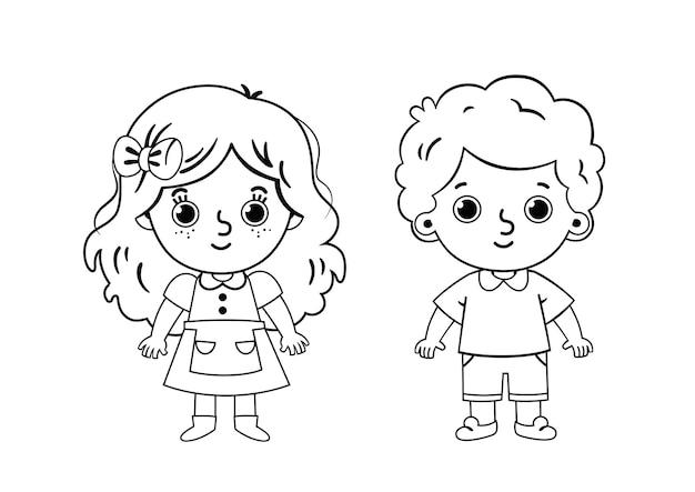 Pagina da colorare di due bambini illustrazione vettoriale per bambini e attività di pittura