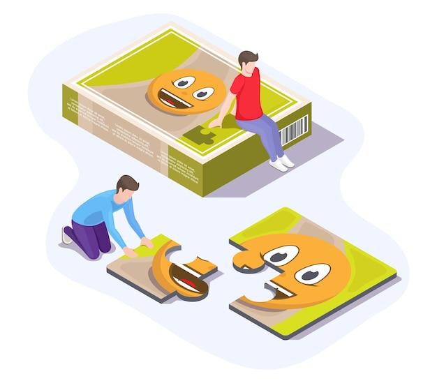 Due bambini che risolvono puzzle divertendosi ed esercitando il cervello, illustrazione isometrica di vettore piatto. amici felici che giocano a puzzle seduti sul pavimento. attività per il tempo libero a casa.
