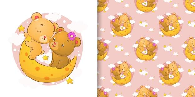 I due orsetti seduti al chiaro di luna incandescente nel cielo nel set di pattern di illustrazione