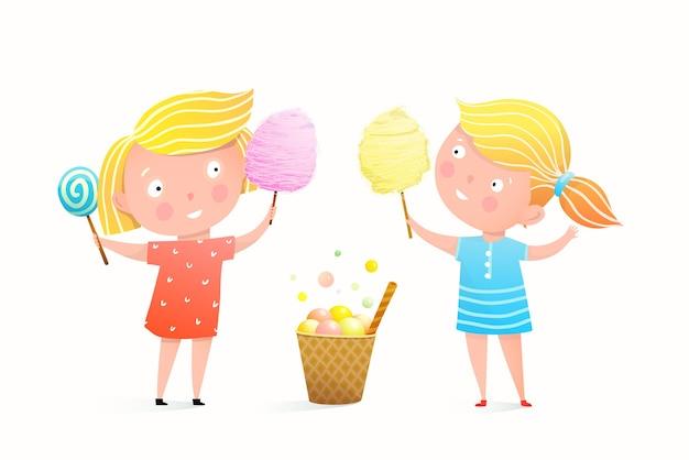 Due bambine che mangiano cotone candito Vettore Premium