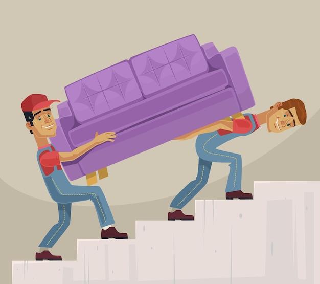 Due uomini del caricatore personaggi mover divano.