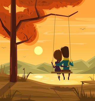 Due amanti seduti sull'altalena al tramonto piatto fumetto illustrazione
