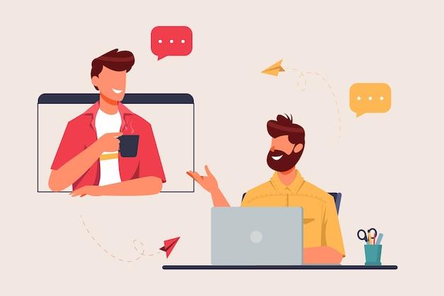 Due uomini che hanno riunione virtuale dal concetto di casa