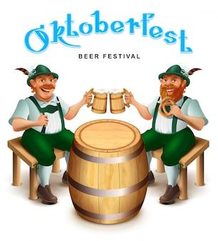 Due uomini in abiti tradizionali tedeschi si siedono e bevono birra.
