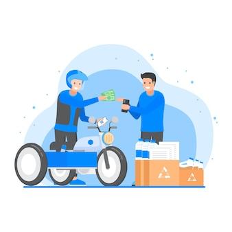 Due uomini con corriere moto risciò facendo transazione di riciclare rifiuti, documenti, bottiglie, scatole e olio di palma usato