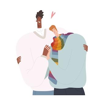 Due uomini si abbracciano in un design piatto