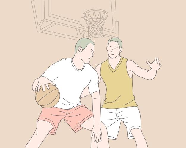 Due uomini che giocano a basket, illustrazione