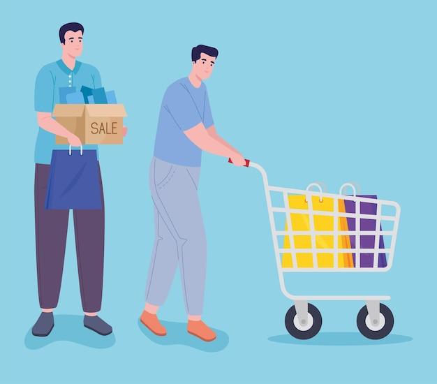 Giornata di shopping di due uomini
