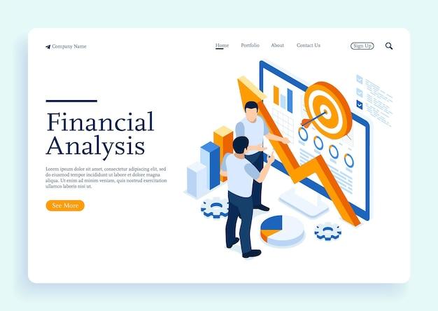 Due uomini che discutono sul concetto di ricerca finanziaria piatto isometrico con caratteri