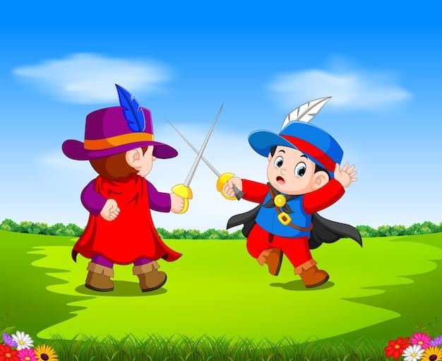 Due moschettiere con la spada