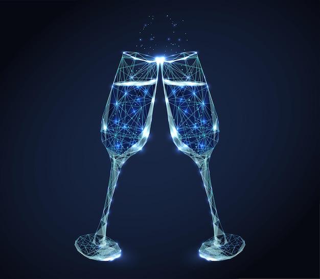 Due bicchieri di vino tintinnio al neon con champagne e bollicine.