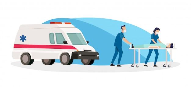 Di due infermiere che portano i pazienti in ospedale dopo essere stati portati in ambulanza
