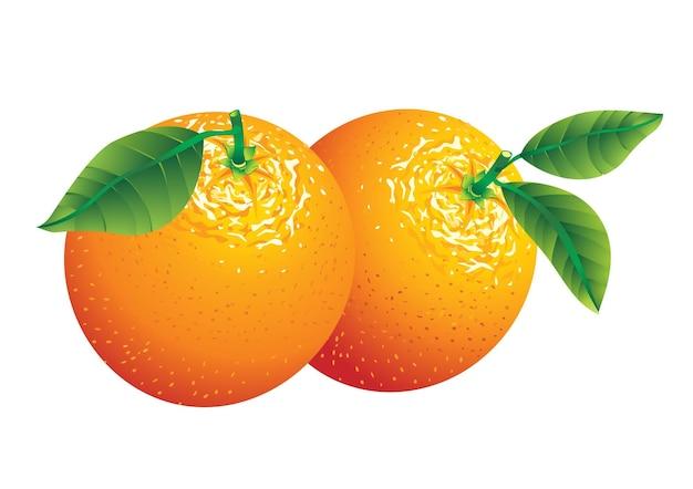 Due arance con foglie isolate su bianco