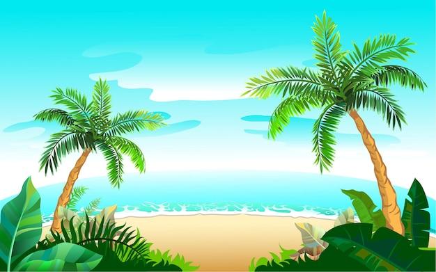 Due palme e spiaggia di sabbia sul mare blu. vacanza paradisiaca sull'isola tropicale. illustrazione del fumetto