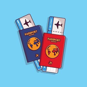 Due passaporti vettoriali e biglietti per carte d'imbarco con stile cartone animato piatto